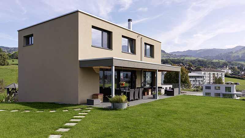 Einfamilienhäuser Holzbau Putzfassade
